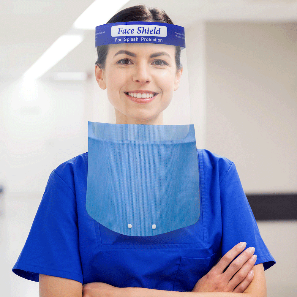 Face Shield with Fabric Drape (Part # FBFS-D)